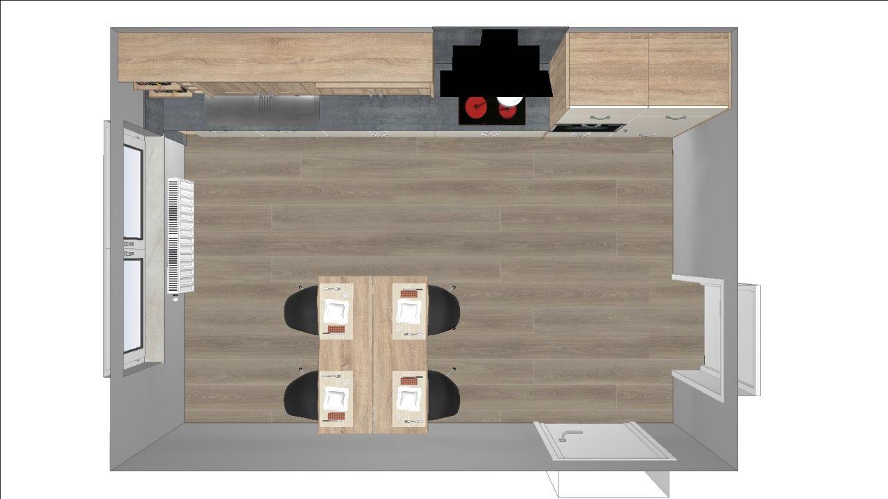 Wohnküchenskizze Raumaufteilung